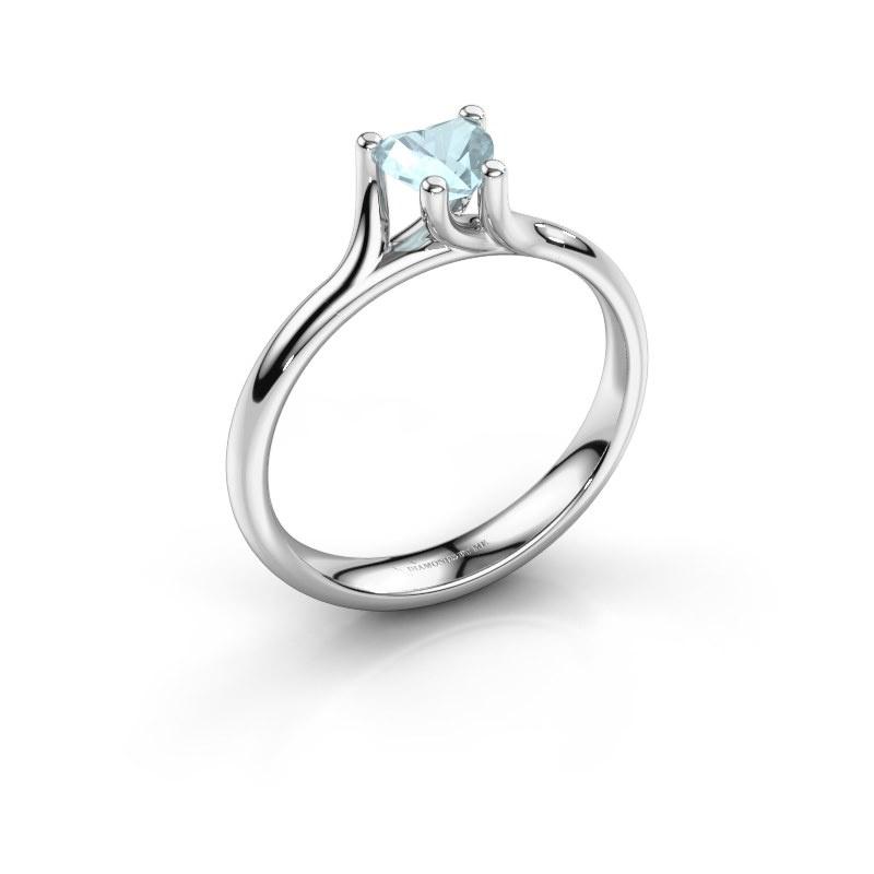 Engagement ring Dewi Heart 925 silver aquamarine 5 mm