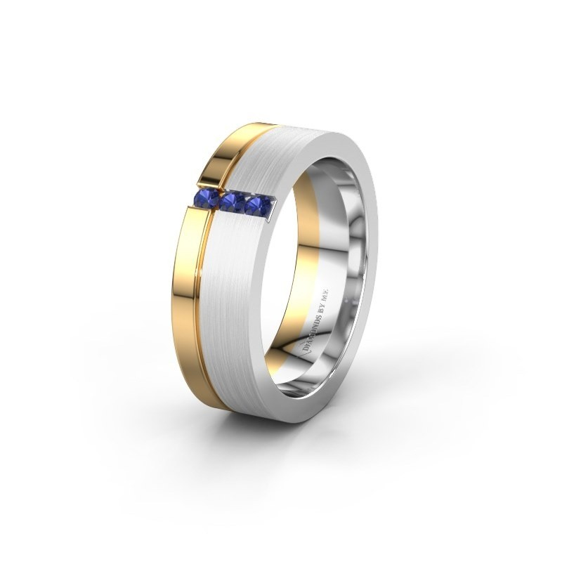 Wedding ring WH0327L16B 585 white gold sapphire ±0.24x0.08 in