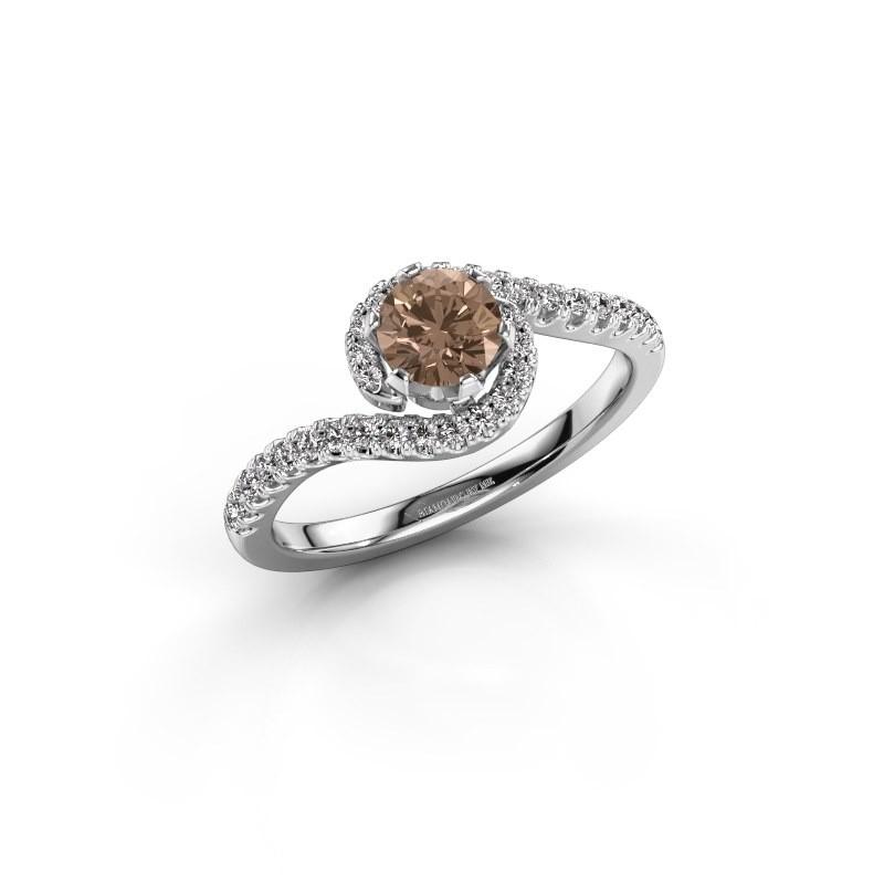 Verlovingsring Elli 585 witgoud bruine diamant 0.753 crt