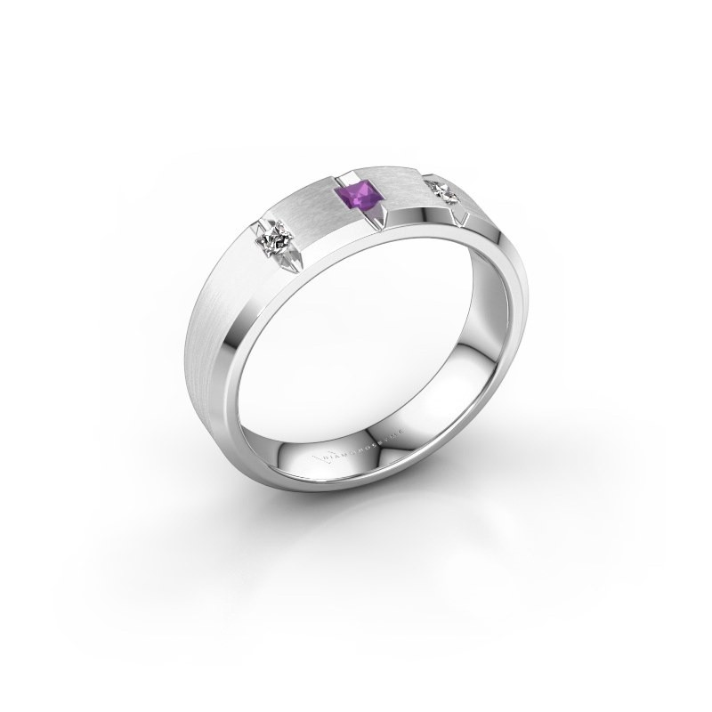 Mannen ring Justin 925 zilver amethist 2.5 mm