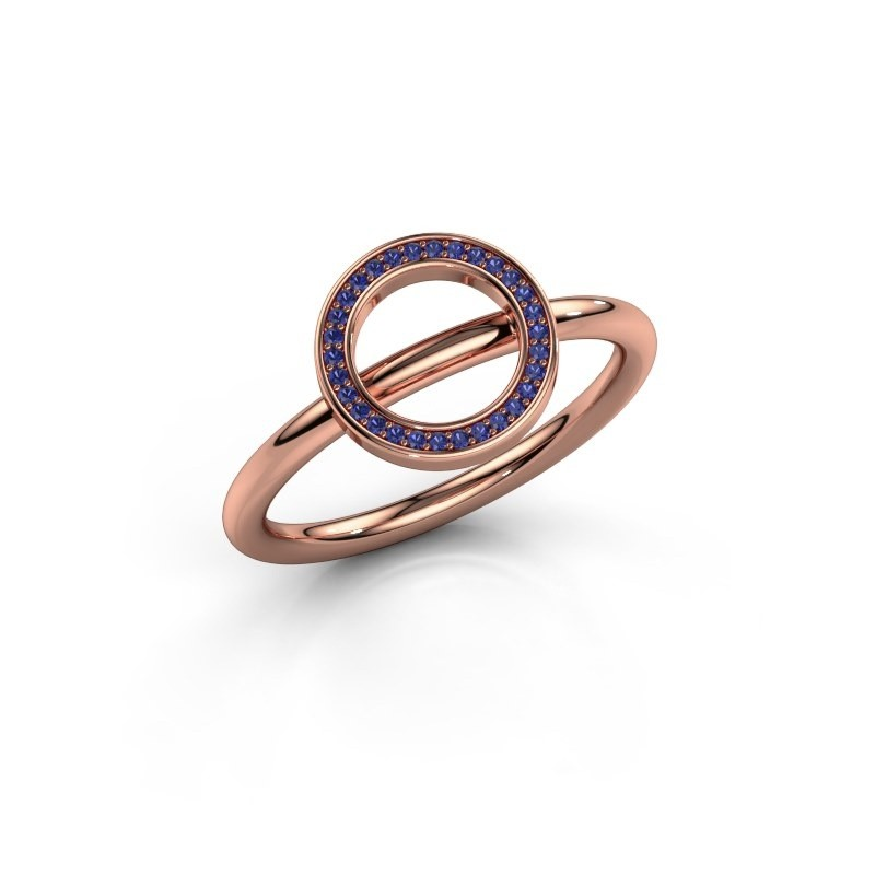 Ring Shape round large 375 rosé goud saffier 0.8 mm