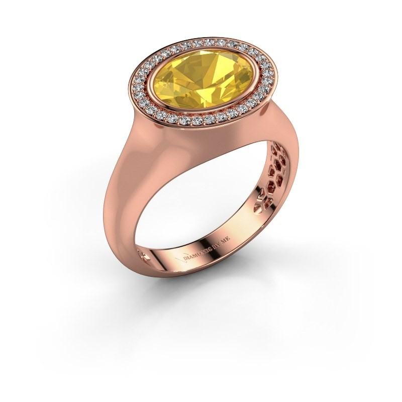 Ring Phebe 375 rose gold yellow sapphire 10x8 mm