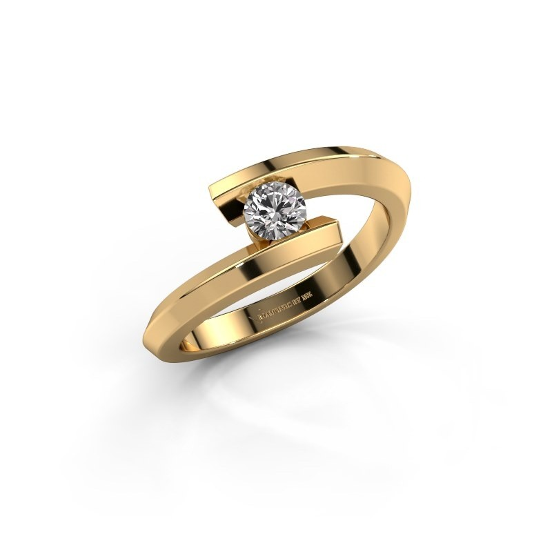 Ring Paulette 585 goud zirkonia 3.4 mm