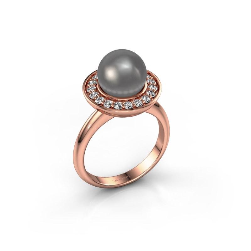 Ring Sarah 585 rosé goud grijze parel 9 mm