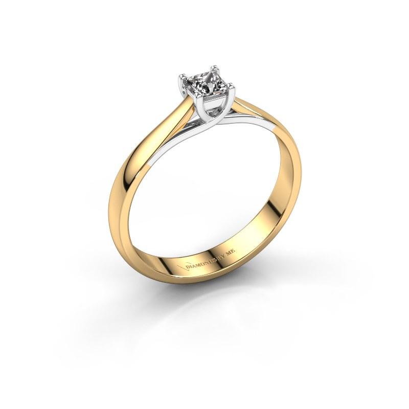 Bague de fiançailles Mia Square 585 or jaune diamant 0.17 crt