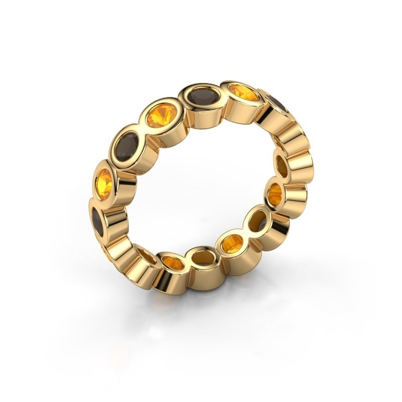 Stackable ring Edwina 3 375 gold smokey quartz 3 mm