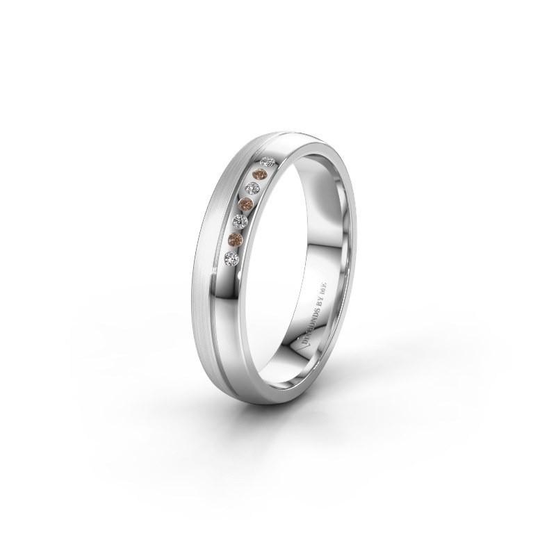 Trouwring WH0216L24APM 950 platina bruine diamant ±4x1.7 mm