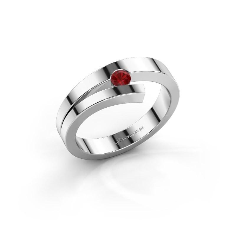Ring Rosario 925 zilver robijn 3 mm