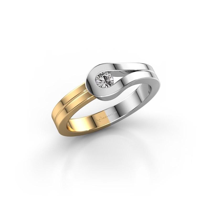Bague Kiki 585 or blanc diamant synthétique 0.10 crt