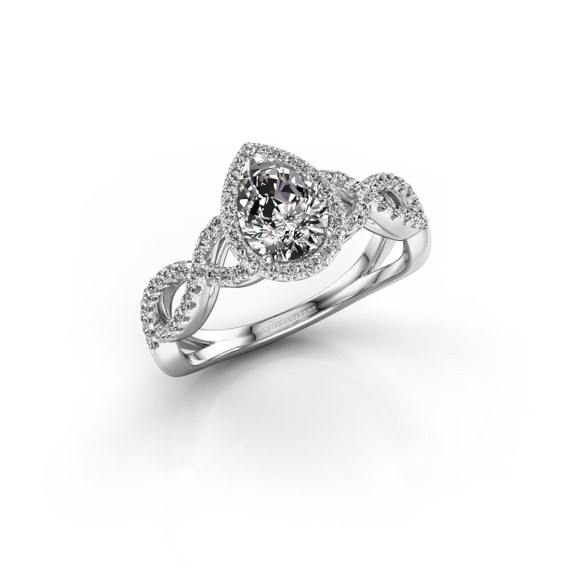 Engagement ring Dionne pear 585 white gold zirconia 7x5 mm