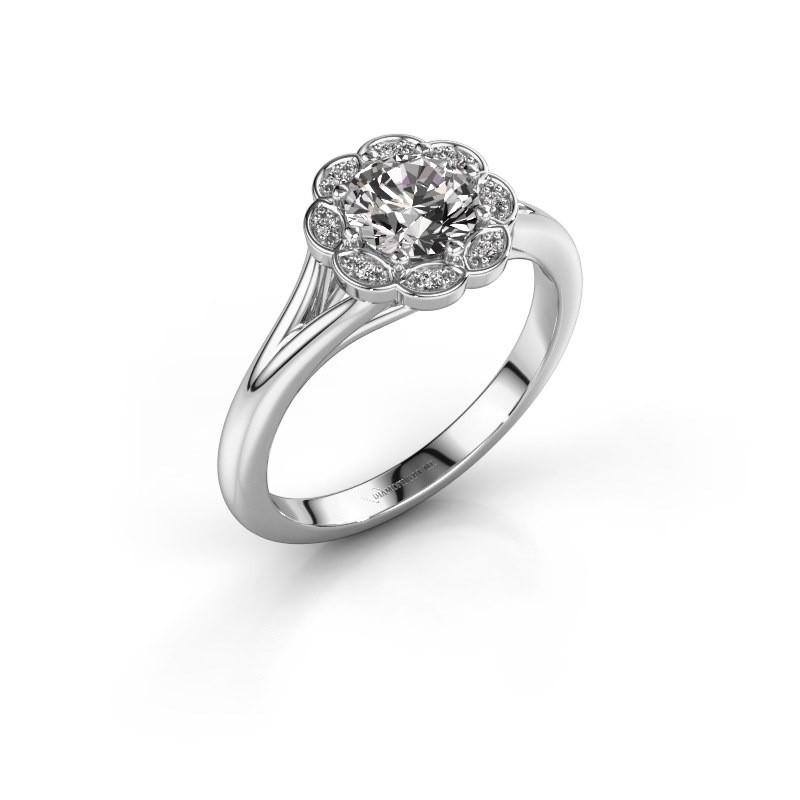 Bague de fiançailles Claudine 950 platine diamant 0.84 crt