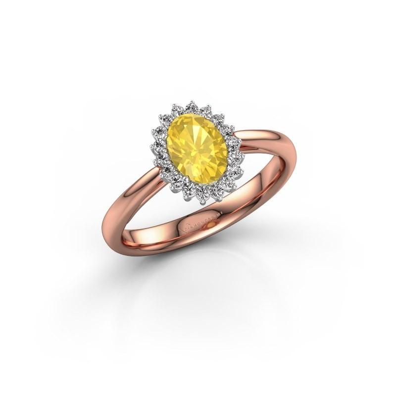 Verlovingsring Tilly 1 585 rosé goud gele saffier 7x5 mm