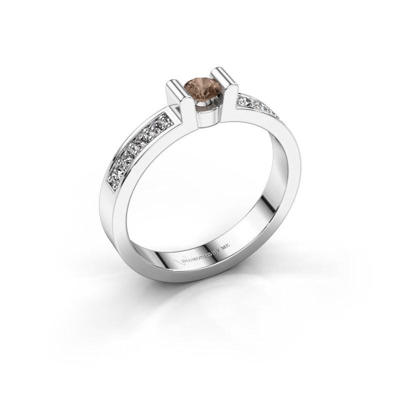 Verlovingsring Sofie 2 925 zilver bruine diamant 0.15 crt