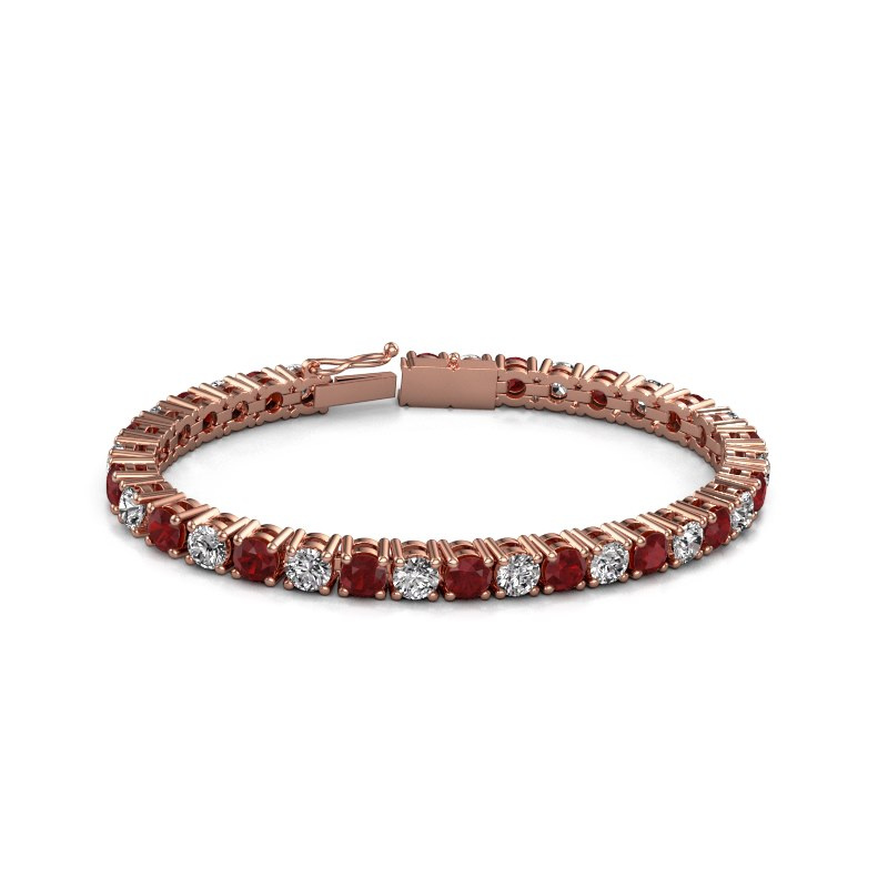 Tennisarmband Karin 5 mm 375 rosé goud robijn 5 mm