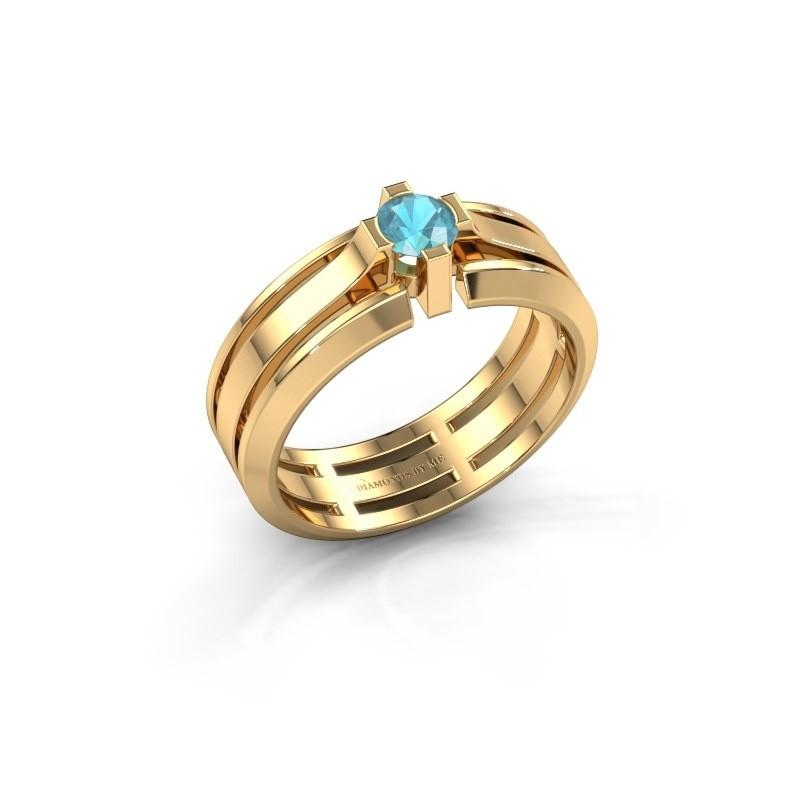 Heren ring Sem 585 goud blauw topaas 4.7 mm