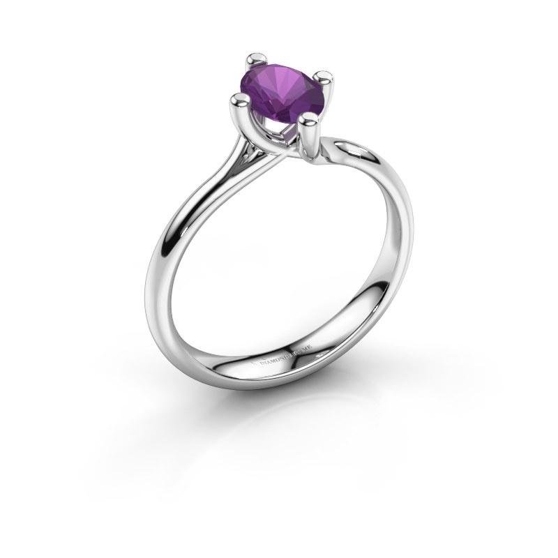 Engagement ring Dewi Oval 950 platinum amethyst 7x5 mm