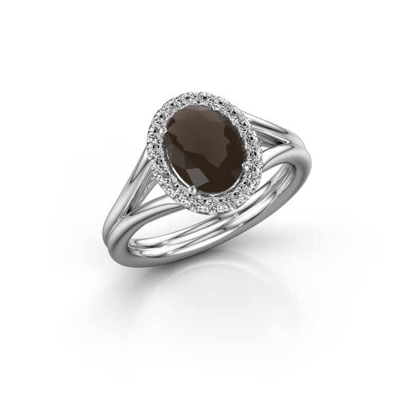 Engagement ring Rachele 1 585 white gold smokey quartz 8x6 mm