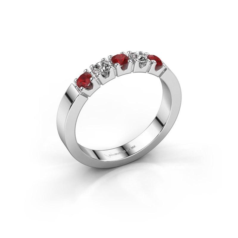 Engagement ring Dana 5 585 white gold ruby 3 mm