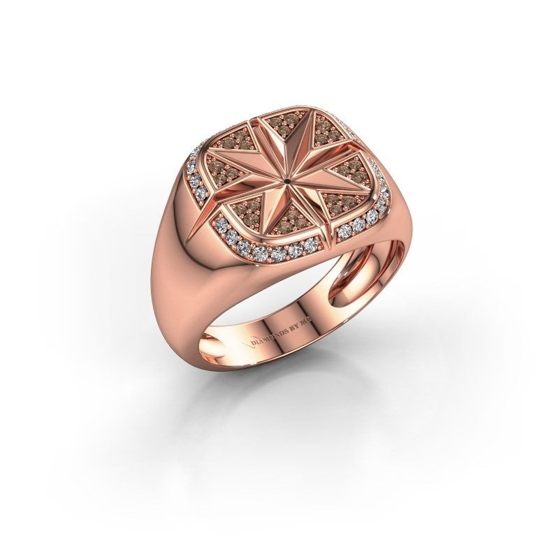Heren ring Ravi 375 rosé goud bruine diamant 0.35 crt