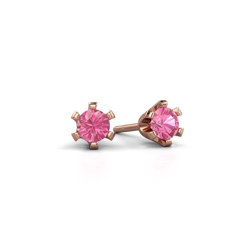 Stud earrings Shana 375 rose gold pink sapphire 4 mm