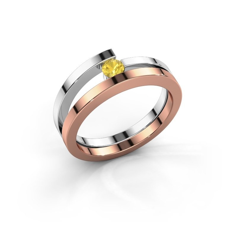 Ring Sandy 585 rosé goud gele saffier 3.4 mm