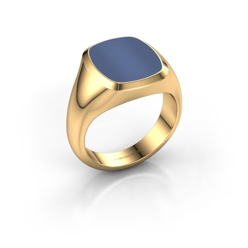 Zegelring Benjamin 3 585 goud blauw lagensteen 14x12 mm