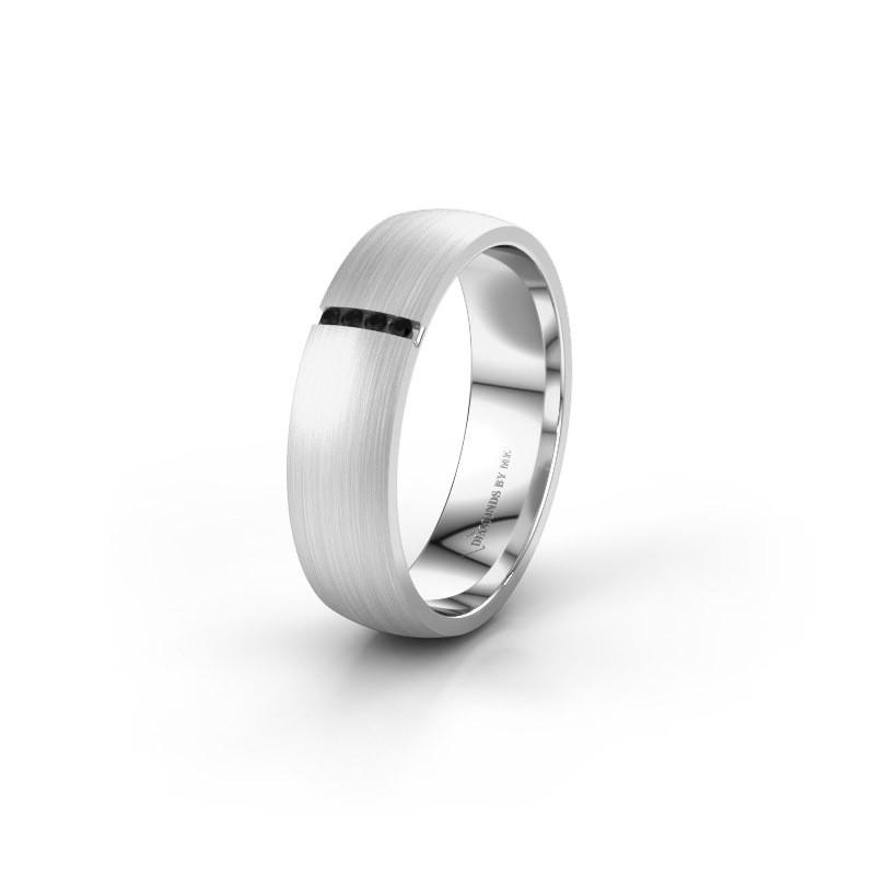 Wedding ring WH0154L25XM 585 white gold black diamond ±0.20x0.05 in