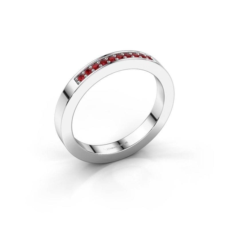 Stackable ring Loes 3 375 white gold ruby 1.3 mm