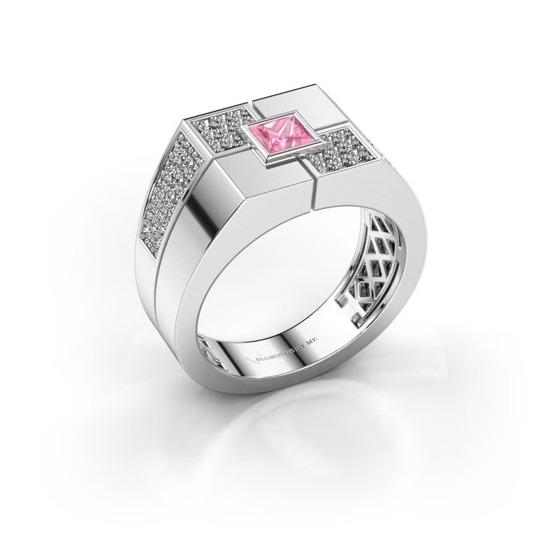 Men's ring Rogier 925 silver pink sapphire 4 mm