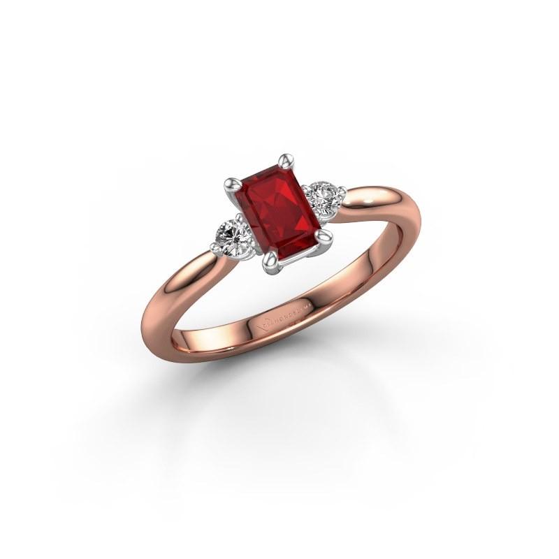 Verlovingsring Lieselot EME 585 rosé goud robijn 6x4 mm