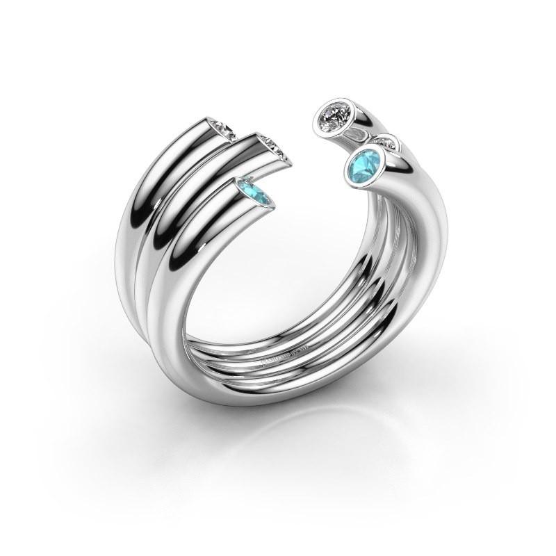Ring Noelle 925 silver blue topaz 2.4 mm