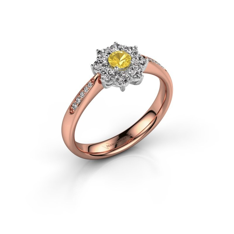 Engagement ring Carolyn 2 585 rose gold yellow sapphire 3.4 mm