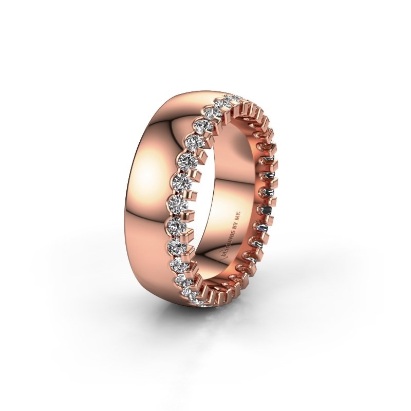 Trouwring WH6120L27C 375 rosé goud lab-grown diamant ±7x2.2 mm