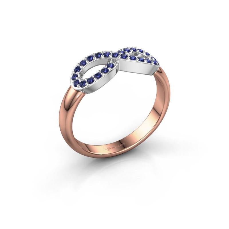 Ring Infinity 2 585 rosé goud saffier 1.2 mm