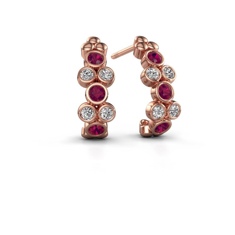 Earrings Kayleigh 375 rose gold rhodolite 2.4 mm
