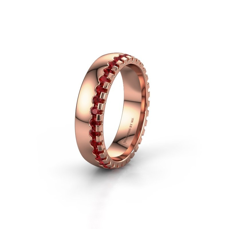Wedding ring WH6122L25B 375 rose gold ruby ±5x2 mm
