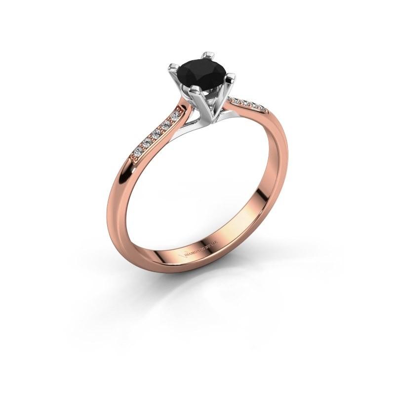 Verlobungsring{ucf Isa 2 375 Roségold Schwarz Diamant 0.36 crt
