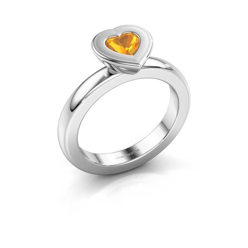 Stapelring Eloise Heart 950 platina citrien 5 mm
