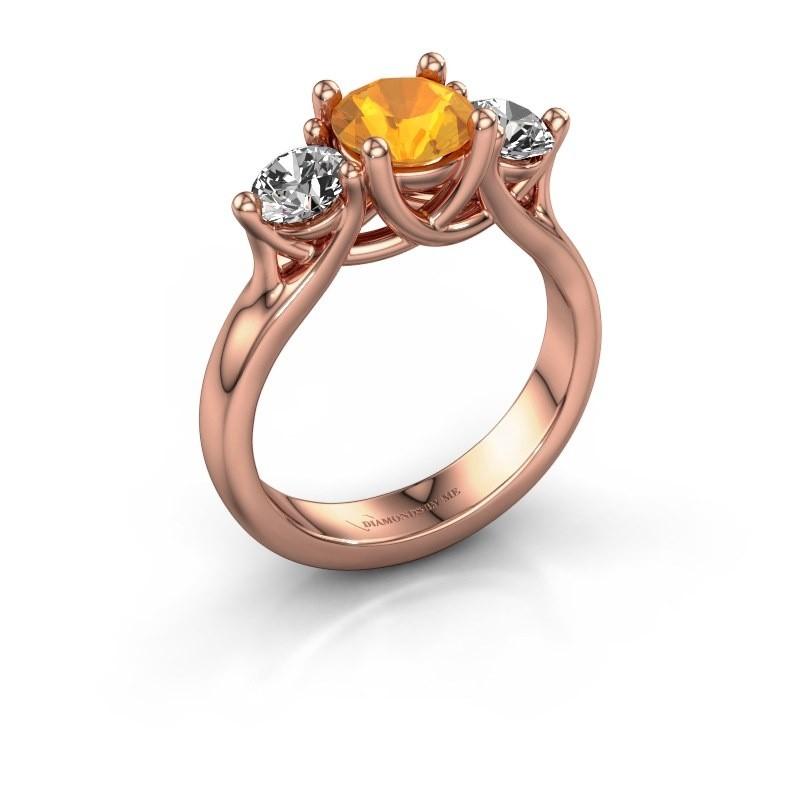 Verlovingsring Esila 375 rosé goud citrien 6.5 mm