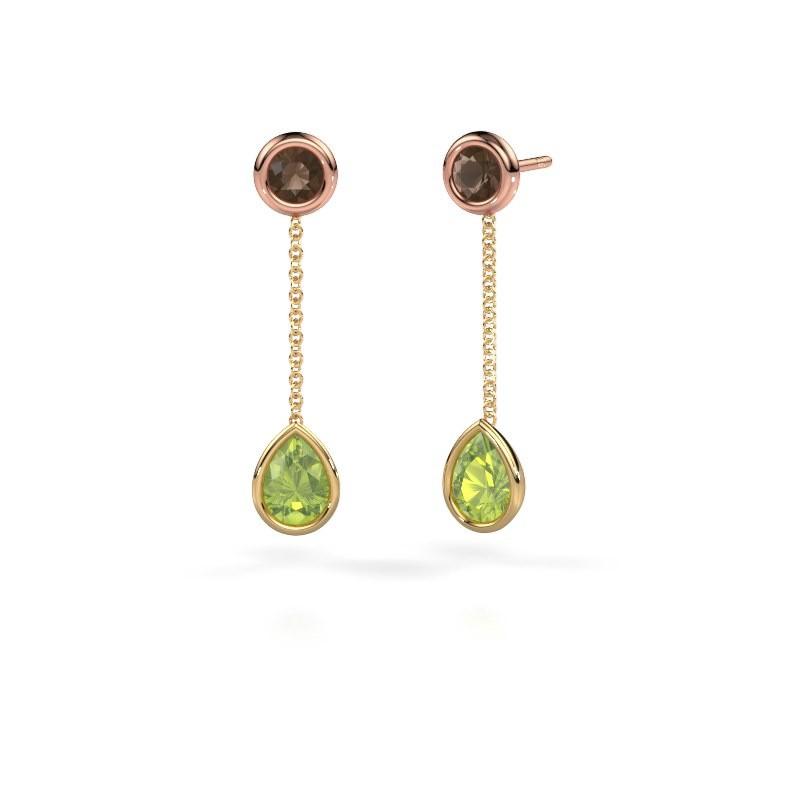 Drop earrings Ladawn 585 gold peridot 7x5 mm