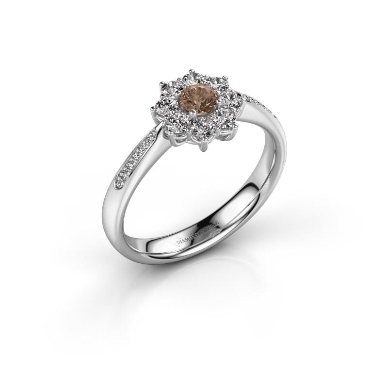 Verlovingsring Carolyn 2 950 platina bruine diamant 0.15 crt