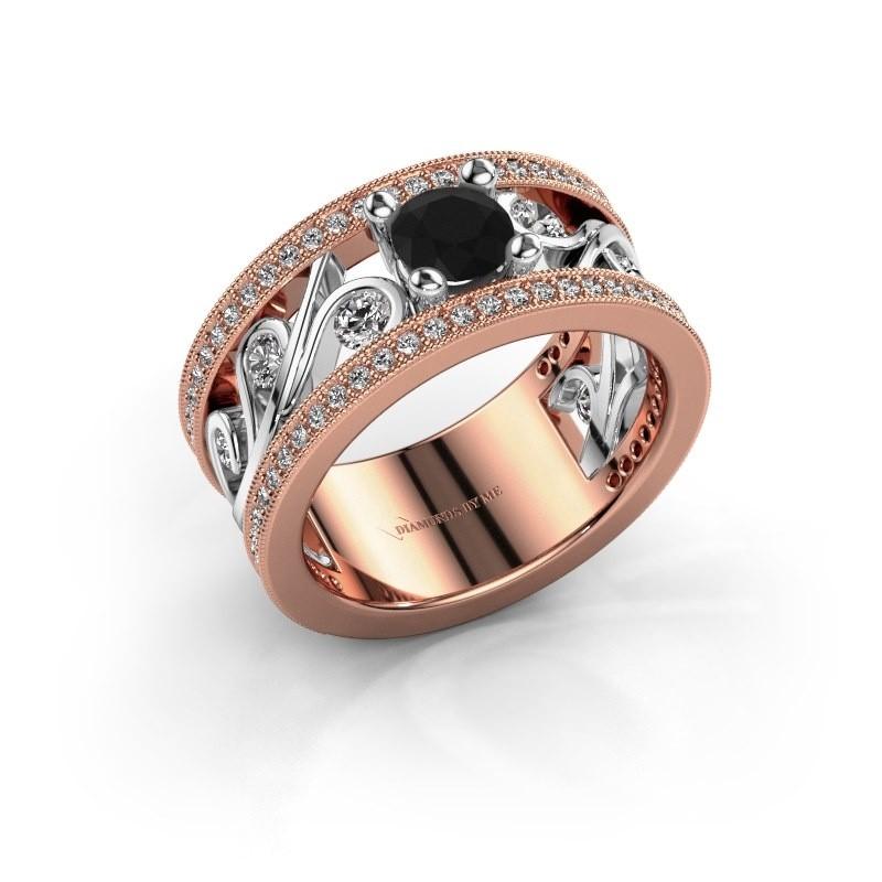 Ring Sanne 585 rosé goud zwarte diamant 1.40 crt