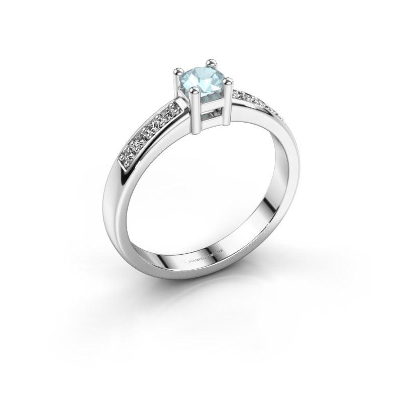 Engagement ring Eline 2 585 white gold aquamarine 3.7 mm
