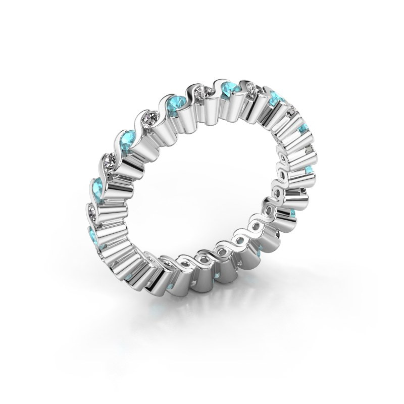 Stackable ring Faye 585 white gold blue topaz 2 mm