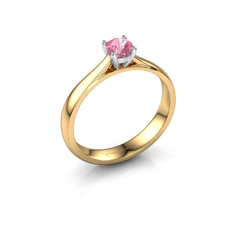 Engagement ring Sam 585 gold pink sapphire 4.2 mm