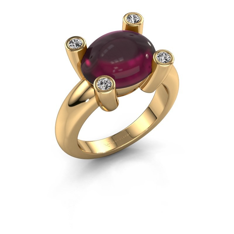Ring Janice OVL 585 gold rhodolite 12x10 mm