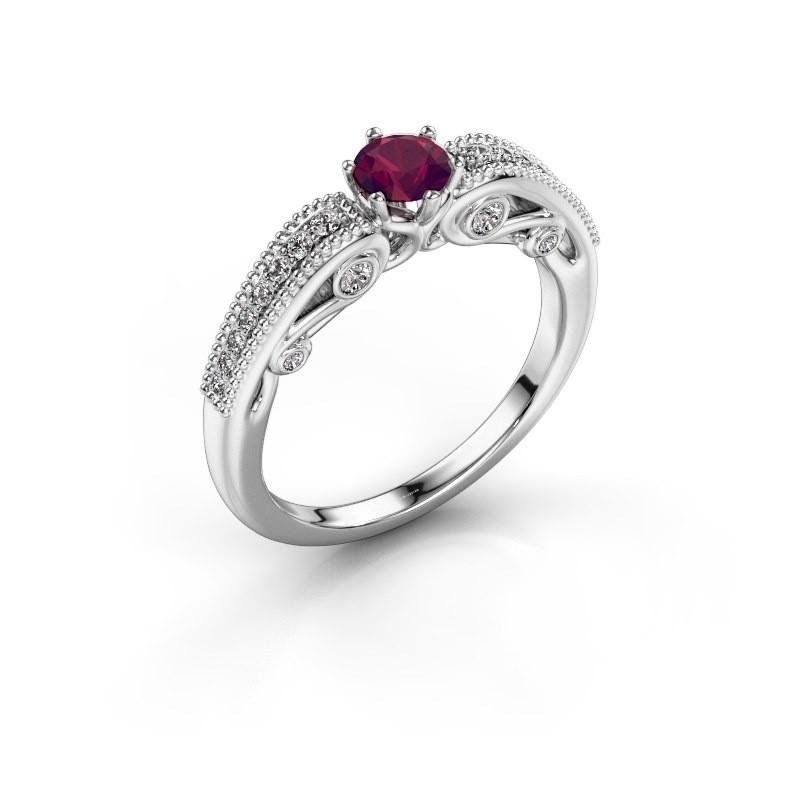 Engagement ring Christeen 585 white gold rhodolite 4.2 mm