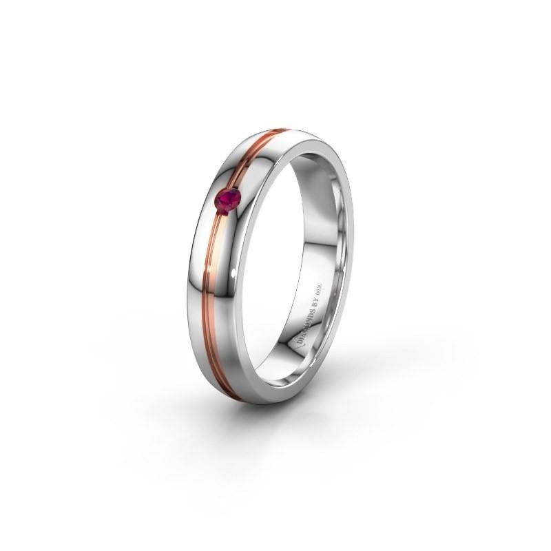 Wedding ring WH0424L24A 585 white gold rhodolite ±4x1.7 mm