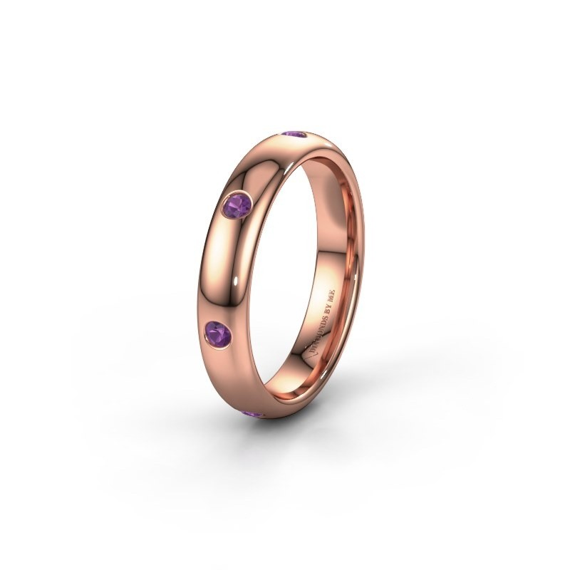 Wedding ring WH0105L34BP 585 rose gold amethyst ±0.16x0.08 in