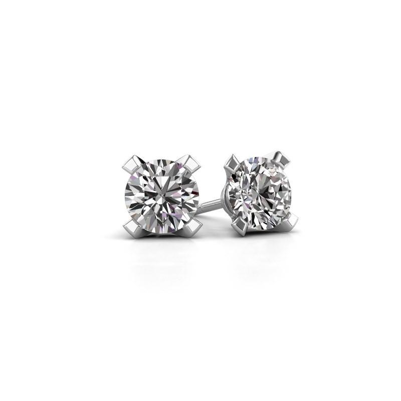 Oorstekers Isa 585 witgoud diamant 0.10 crt